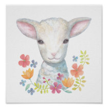 Lamb Poster Cute Baby Sheep Nursery Wall Art print