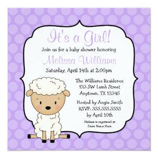 "Lamb Purple Dots Girl Baby Shower Invitations 5.25"" Square Invitation Card"