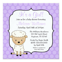 Lamb Purple Dots Girl Baby Shower Invitations