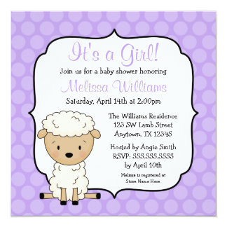 Lamb Purple Dots Girl Baby Shower Invitations
