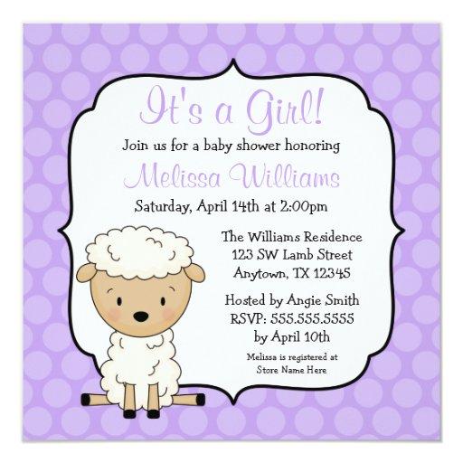 lamb purple dots girl baby shower invitations zazzle