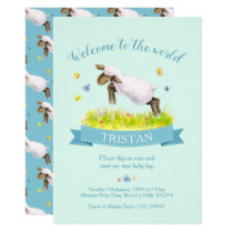 Lamb skipping cute welcome to the world aqua invitation