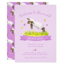 Lamb skipping cute welcome to the world purple invitation