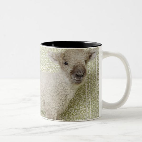 Lamb Standing Indoors, and Floral Wallpaper Two-Tone Coffee Mug