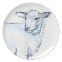 Lamb Watercolor in black and blue tones Dinner Plate