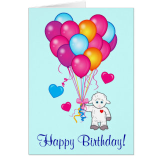 Lamb with Balloons in the Shape of a Heart Card