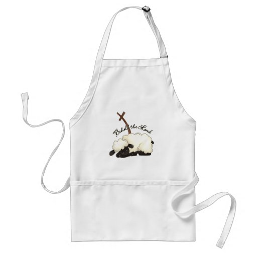 Lamb with crucifix Behold the Lamb Adult Apron