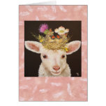 Lamb with two baby cardinals notecard