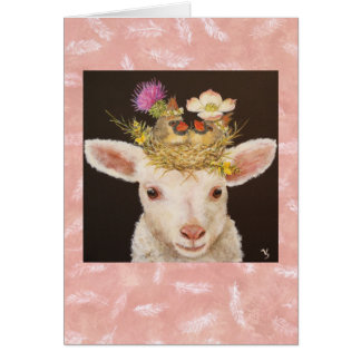 Lamb with two baby cardinals notecard stationery note card
