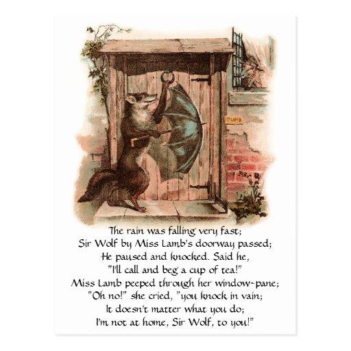 Lamb Won't Let Wolf Enter Post Cards