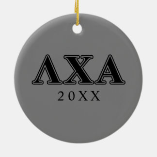 Lambda Chi Alpha Black Letters Ceramic Ornament