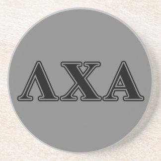 Lambda Chi Alpha Black Letters Drink Coaster