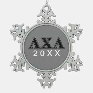 Lambda Chi Alpha Black Letters Snowflake Pewter Christmas Ornament