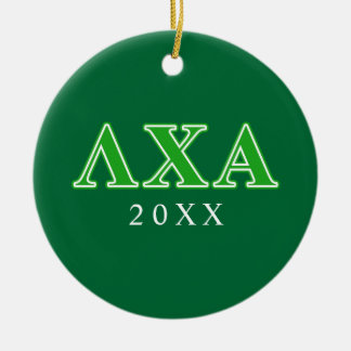 Lambda Chi Alpha Green Letters Ceramic Ornament