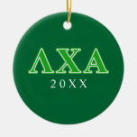 Lambda Chi Alpha Green Letters Double-Sided Ceramic Round Christmas Ornament