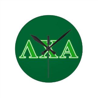 Lambda Chi Alpha Green Letters Round Wall Clocks