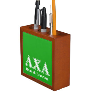 Lambda Chi Alpha White an Green Letters Desk Organizer