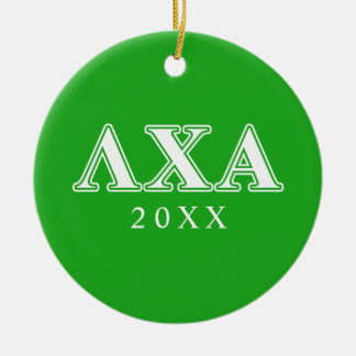 Lambda Chi Alpha White and Green Letters Ceramic Ornament