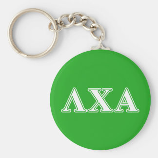 Lambda Chi Alpha White and Green Letters Keychain