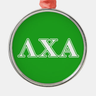 Lambda Chi Alpha White and Green Letters Metal Ornament