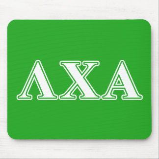 Lambda Chi Alpha White and Green Letters Mouse Pad