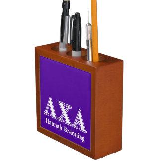 Lambda Chi Alpha White and Purple Letters Pencil Holder