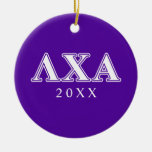 Lambda Chi Alpha White and Purple Letters Double-Sided Ceramic Round Christmas Ornament