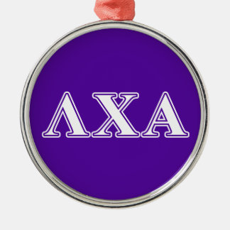 Lambda Chi Alpha White and Purple Letters Metal Ornament