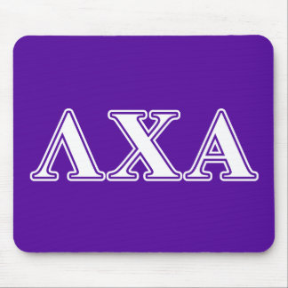 Lambda Chi Alpha White and Purple Letters Mouse Pad