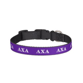 Lambda Chi Alpha White and Purple Letters Pet Collar