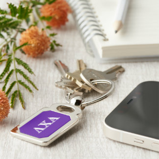Lambda Chi Alpha White and Purple Letters Silver-Colored Rectangular Metal Keychain