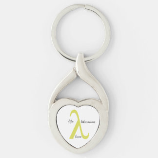 Lambda Silver-Colored Metal Keychain