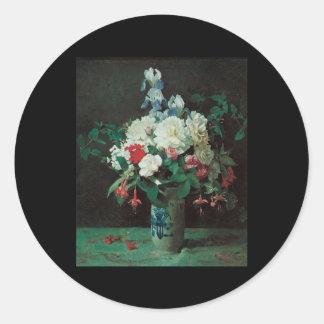 Lambdin Flowers in a vase Round Stickers