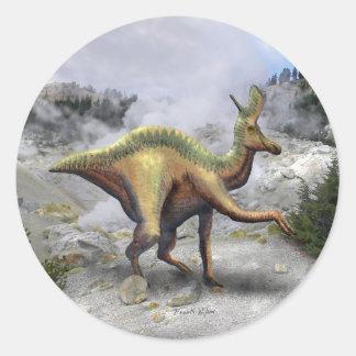Lambeosaurus Dinosaur Classic Round Sticker