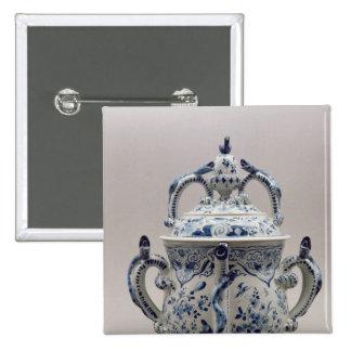 Lambeth Delftware posset pot, blue and white Pinback Button