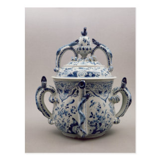Lambeth Delftware posset pot, blue and white Postcard