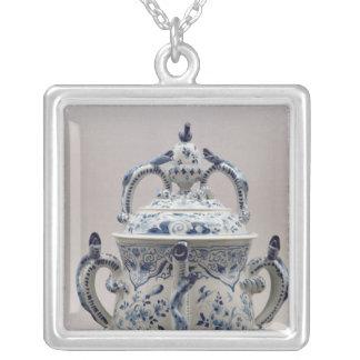 Lambeth Delftware posset pot, blue and white Square Pendant Necklace