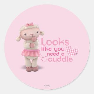 Lambie - los parecer usted necesitan una abrazo pegatina redonda