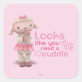 Lambie - los parecer usted necesitan una abrazo pegatina cuadrada