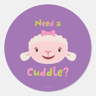 Lambie - necesite una abrazo pegatina redonda