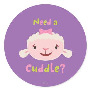 Lambie - Need a Cuddle Classic Round Sticker