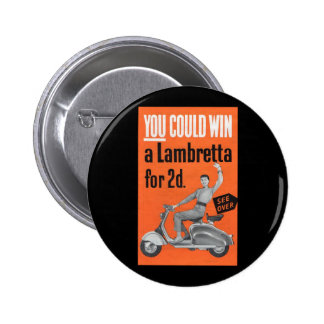 Lambretta scooter vintage competition leaflet 2 inch round button