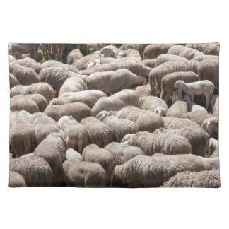 lambs and sheep in the flock in the mountains cloth placemat