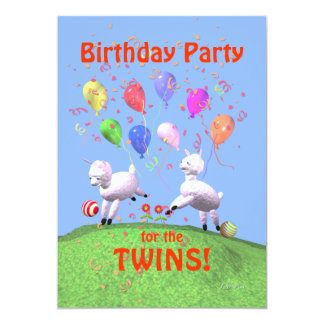 Lambs Birthday Party for Twins Card