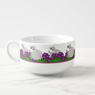 Lambs on the Run Through a Violet Garden Soup Mug