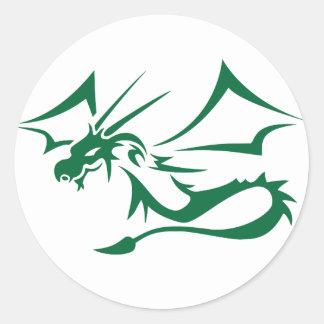 Lambton el dragón verde pegatina redonda