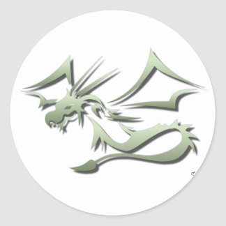 Lambton the Metallic Green Dragon Classic Round Sticker