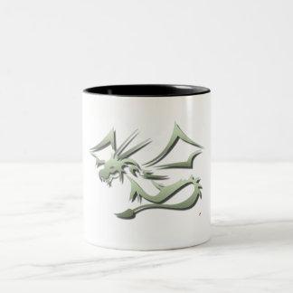 Lambton the Metallic Green Dragon Two-Tone Coffee Mug