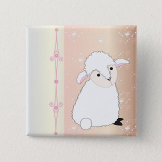 Lamby on Pink Button