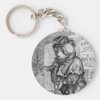 Lame Bear - Letter L - Vintage Teddy Bear Basic Round Button Keychain